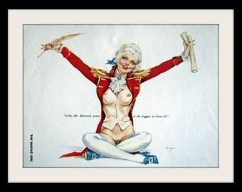 ALBERTO VARGAS Patriotic Girl Pin Up Art, Vintage Nude Mature Decor