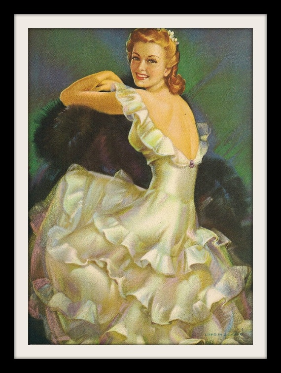 """FRAHM Bride Cheesecake Pinup Girl """"White Gown"""", Vintage Wall Decor Litho Art Print"""