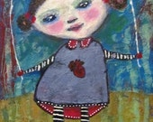 Skipping Rope in the Rain, Mixed Media Portrait of a Girl with Anatomical Heart on Dress (100% to asperger's art charity)