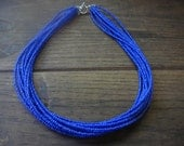 Dark Blue Multi Strand Stacked Glass Seed Bead Necklace