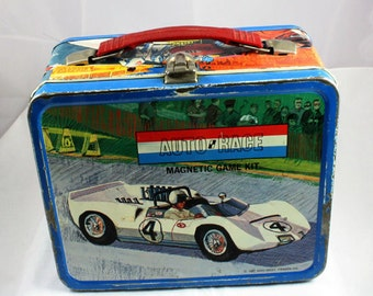 1967 Auto Race LUnchbox With Thermos