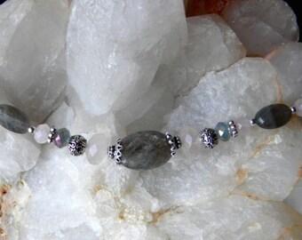 Labradorite, Rose Quartz, Crystals, and Pewter Bracelet
