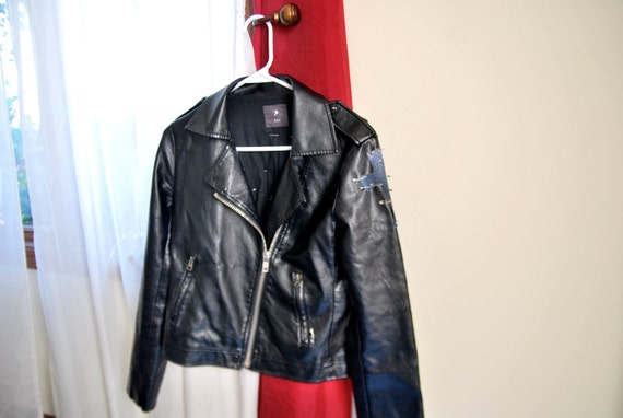 Vegan Leather Jacket With Galaxy Cross(RESERVED)