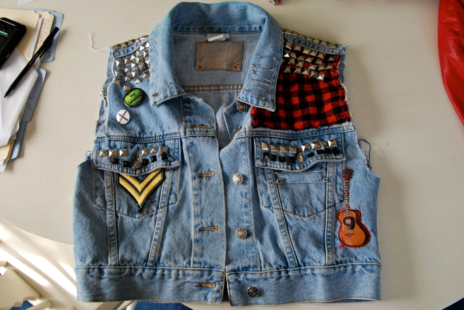 Punk Led Zeppelin Denim Jacket With Patches