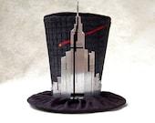 Tiny Top Hat: The Skyscraper - Black Silver red cosplay costume party lolita fascinator City Town Sky Scraper New York Big Apple Building