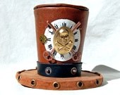 Tiny Top Hat: Clock Work Sky Captain - Pirate Skull and crossbones cross bones steam punk steampunk watch clock brass leather brown gold