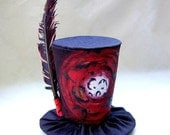 Tiny Top Hat: The Raven - Red Black Crow creepy bizarre macabre feather feathers dark haunted strange cosplay costume party Lolita