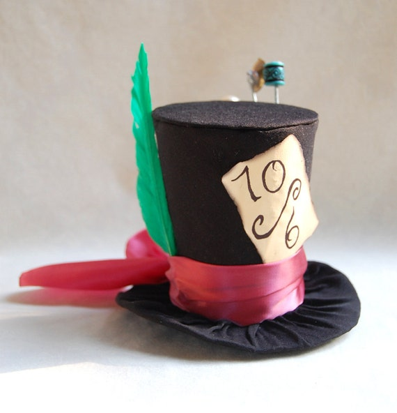 Tiny Top Hat: Mad Hatter - Lolita Cosplay Costume Party Fascinator fast shipping Prop Wedding Small Mini top hat Miniature little