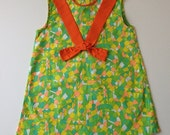 1970's Summer Dress - Yellow, Green, Orange - Size 2/3 T