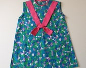 1970's Summer Dress - teal, purple, pink  - Size 2/3 T