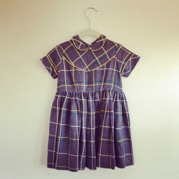 SALE Vintage Toddler Dress - Sears Honeysuckle- Grey Plaid - 4 (Girls')