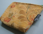 Upcycled Zipper Pouch - Orange Floral Tapestry