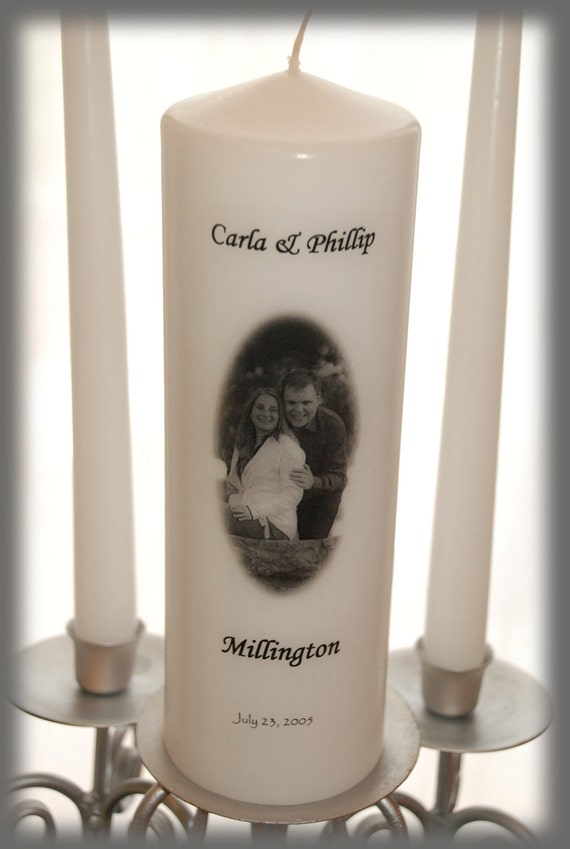 Personalized Unity Candle Set With Your Picture, wedding candles, weddings, wedding decorations