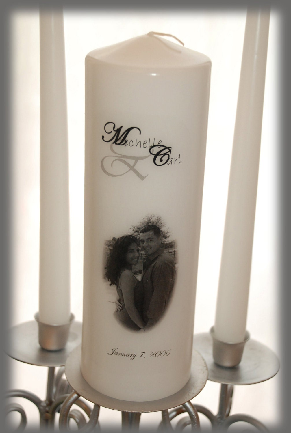 wedding ideas candles personalized unity candle set with your picture wedding 28080