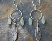 Aventrine and Sterling Silver Feathers on Hoops