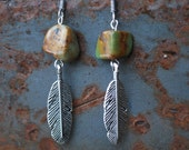 Earrings with Turquoise and Silver Feathers