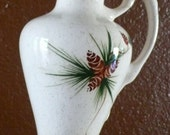 VIntage Rocky Mountain pottery ewer / pitcher. Pine cone and pine needle motif