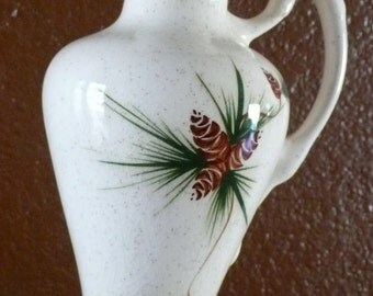 VIntage Mid=century Rocky Mountain Ceramic Ewer Pitcher  Pine Cone and Pine Needle Design