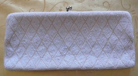 Vintage Richere clutch White and Champagne Handbeaded bag / purse