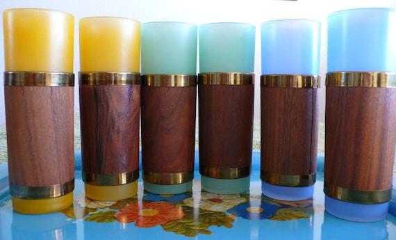 Vintage Tiki Bar, set of 6 mahogany wood wrapped Drinking Glasses.   1950's 1960's.