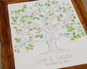 "Hand Drawn Thumb Print Tree ""Guest Book""- Medium Size Fits 90-150 Thumbprints"