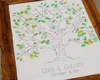 Wedding Tree Thumbprint Guest Book- X-Large Size Fits 230 and Up Thumbs