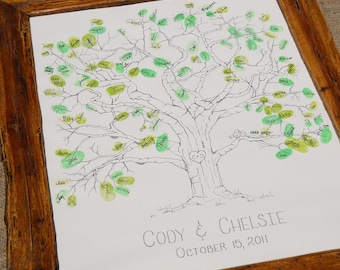 Hand Drawn Thumbprint Tree Guest Book- Small Size Fits 30-70 Prints