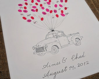 Old Truck Wedding Thumbprint Guestbook- X-Large Size Fits 230 and Up Thumbprints