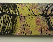 wood framed abstract zebra pattern original hand painted canvas 2ft x 1ft FREE SHIPPING