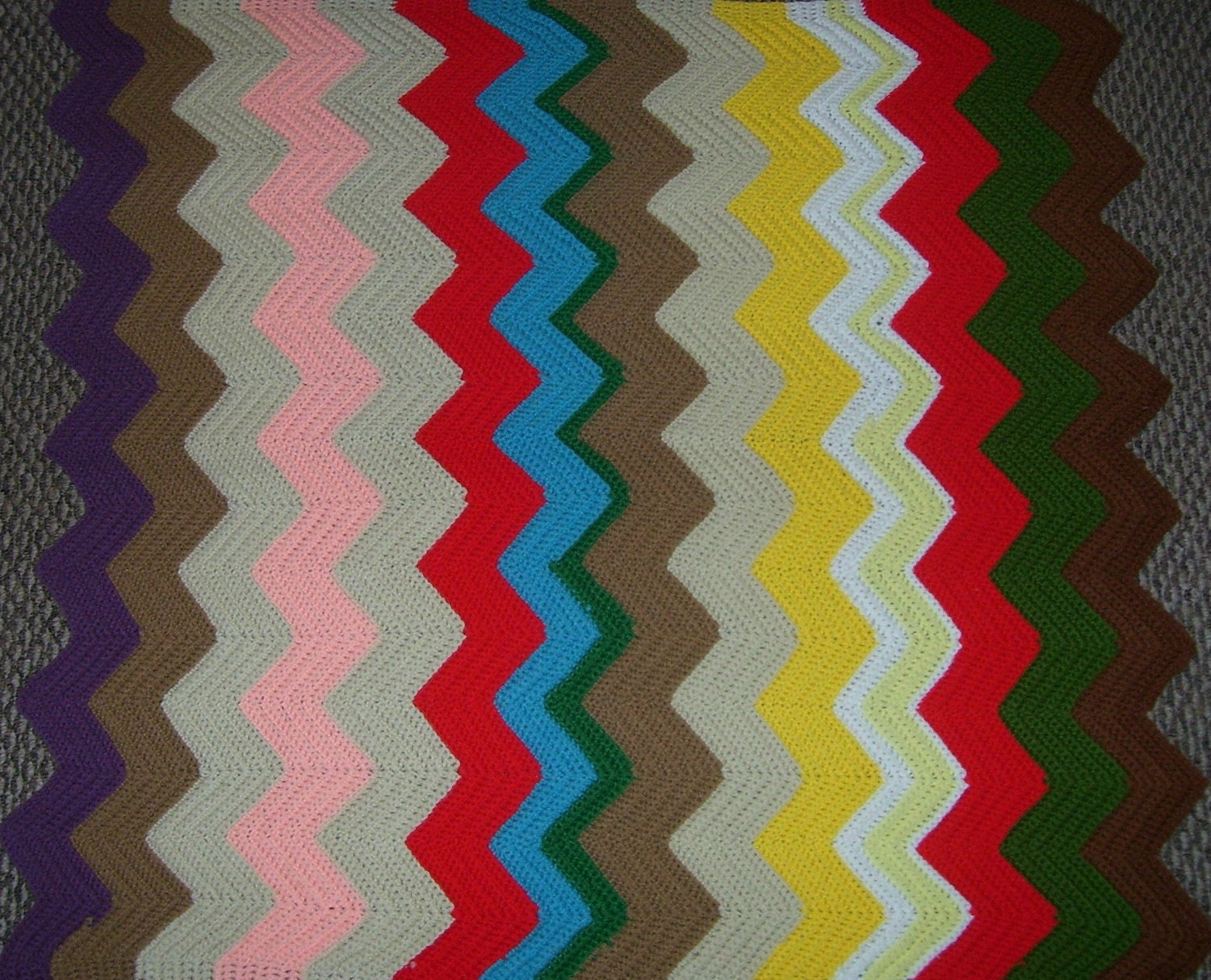 Crochet Patterns Zig Zag Blanket : ... Crochet Blanket Throw Multi Color Zig Zag Pattern Lap Blanket on Etsy