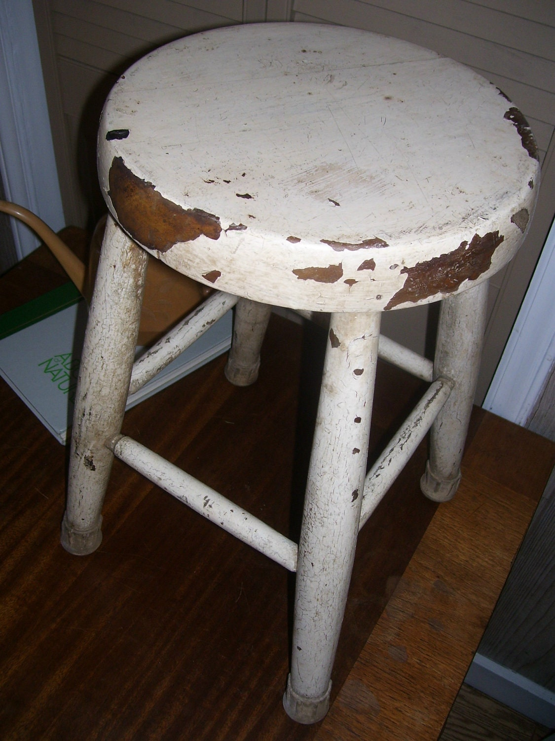 Vintage Wooden Stool Round Wooden Farmhouse Style By