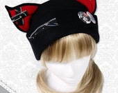 Cat Kitty Fleece Hat  Anime Cosplay Punk JRock  (Blood Red Ears with Zippers Ears)