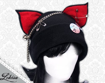 Cat Kitty Fleece Hat  Anime Cosplay Punk JRock  (Blood Red Ears)