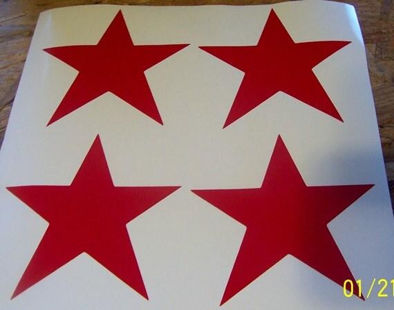"""4"""" Red Vinyl Star Decals"""