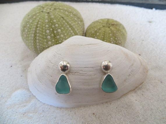 Fine Silver Blue Sea Glass Earrings