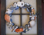 Maine seashell and beach stone wreath