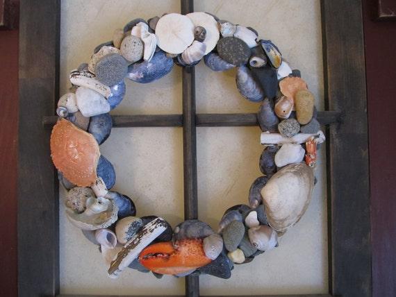 Maine seashell and beach stone wreath