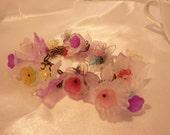 """Garden Flower Charm Bracelet, Lucite, Antique Brass, Spring Fever, 8"""" FREE Shipping"""