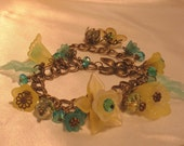 Lucite Flower Bracelet, Garden Flower Charm Bracelet Blue, Yellow, Antique Brass, Faceted Lead Crystals, Handmade
