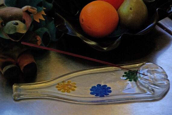 Melted Wine Bottle Incense Burner - Funky Flowers