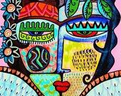 Tribal Rose Angel = SILBERZWEIG ORIGINAL PRINT Mexican, Folk, Primitive, Day Of The Dead, Talavera, Sugar Skull, Goddess, Ethnic, Goth, Boho