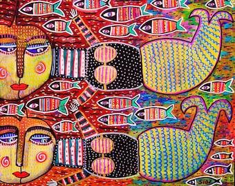 Twin Speckled Mermaids** - SILBERZWEIG ORIGINAL Art PRINT - Mexican, Talavera, Tropical, Fish, Sister, Goddess, Sea, Coral, Folk, Boho, Mod