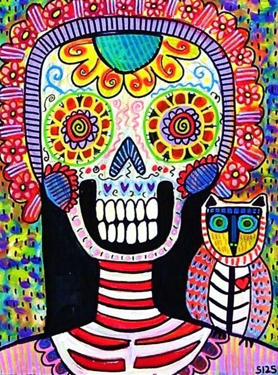 Sugar Skull Frida & Skeleton Owl** - SILBERZWEIG ORIGINAL Art PRINT - Day of the Dead, Skeleton, Mexican, Día de los Muertos, Calavera, Boho