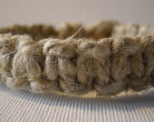 Natural Hemp Bracelet or Anklet MADE TO ORDER with Macrame Square Knot Design Heavy Hemp Thick Wooden Bead