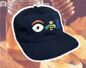 Vintage uniSEX black IBM Lid - embroidered EYE bEE M - one size fitz all