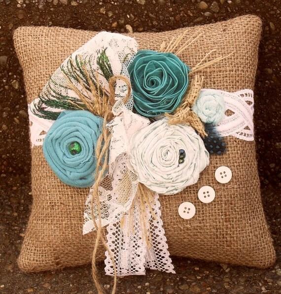 Shabby Chic Turquoise/Teal Peacock Burlap Ringbearer Pillow 918