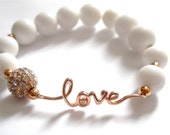 "Love bracelet , Bridal Jewelry, Purity Bracelet, ""Pure Love"" Rose Gold & White Jade gemstone bracelet- Gift for Her"
