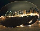 "Chicago Photography: Cloud Gate (Bean) Millennium Park at Night 8"" x 12"" Matted Print"