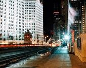 "Chicago Photography: Michigan Ave. Bridge at Night 8"" x 12"" Matted Print"