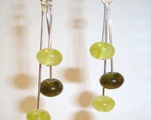 Green Earrings Cut Glass Earrings and Silver Dangle Earrings